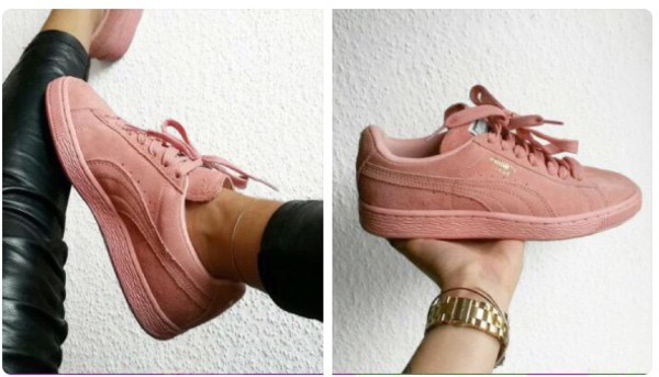 womens puma suede trainers light pink