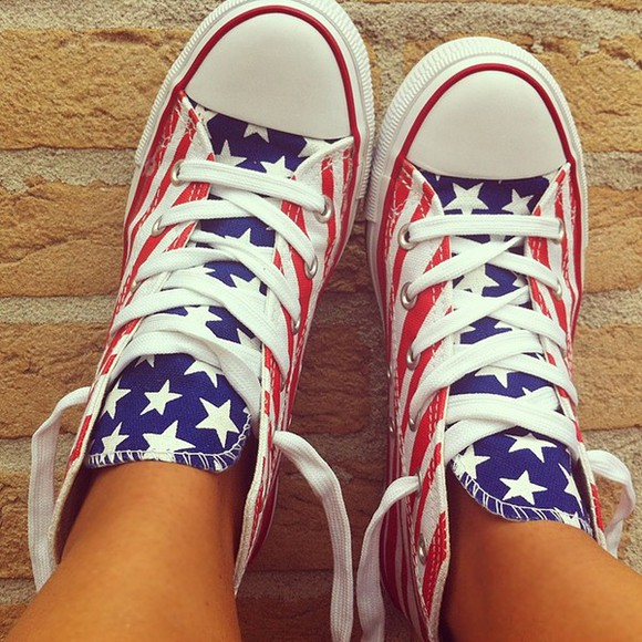 usa red blue stripes white america ootd shoes converse merica starss