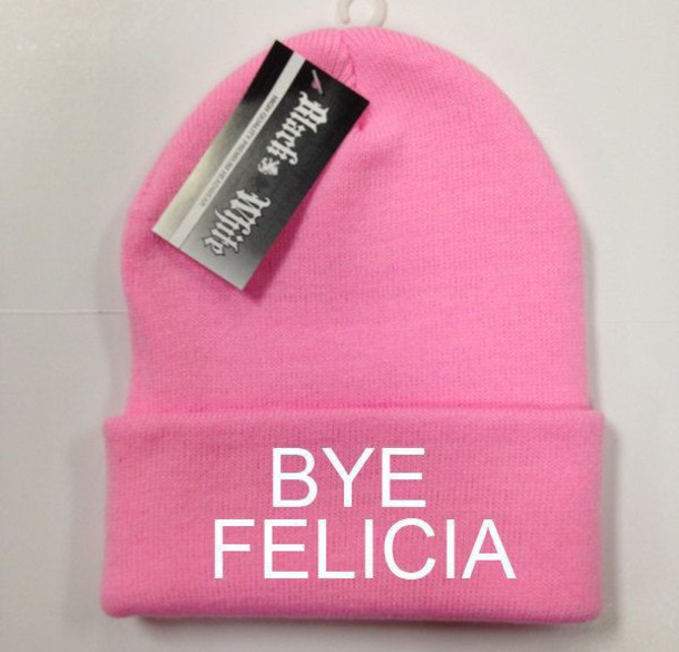 hat white lettering beanie pink beanie pink beanie$ pink bye felicia white letters pink hair