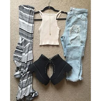 shirt divergence clothing outfits knit cardigan ripped jeans light wash denim denim light wash jeans chunky boots grunge boots grunge vintage divergence clothing outfit fall otufits fall outfits white crop tops knitted crop top striped cardigan boyfriend jeans black chunky boots winter outfits chunky sole 28719