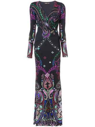 gown women spandex print black paisley dress