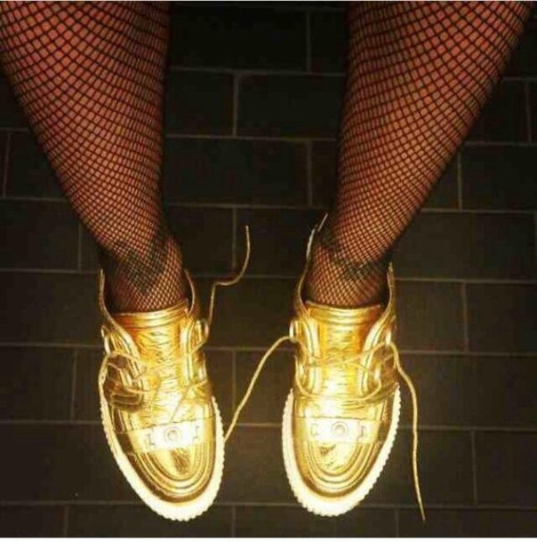 shoes, trainers, white, metallic, gold