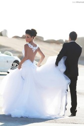 Online shop spaghetti straps applique lace mermaid wedding dresses see through bridal gowns with detachable train open back