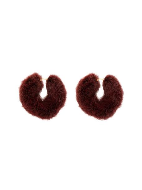 metal fur women earrings burgundy red jewels
