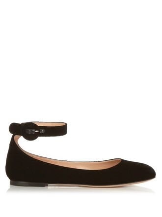 flats velvet black shoes