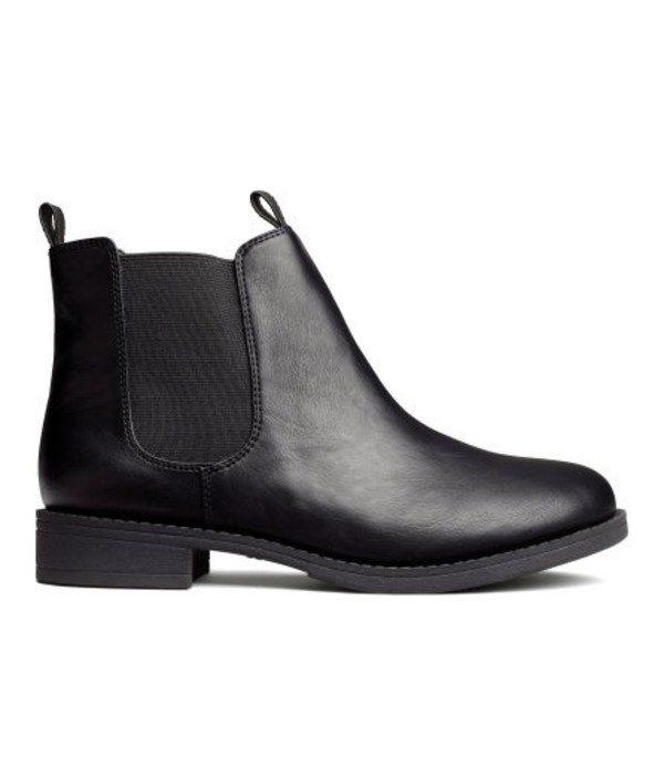 Black Leather Low Heel Ankle Boots - Boot Hto