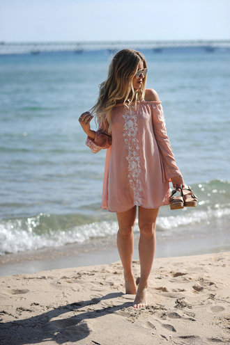 blonde bedhead blogger dress shoes jewels sunglasses tumblr mini dress pink dress embroidered embellished dress long sleeves