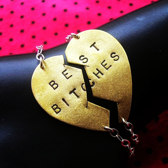 Best Bitches Bracelets--MADE TO ORDER-----Hand Stamped Split Brass... - Bracelets - Lace: Bracelets with words by FashionGirl
