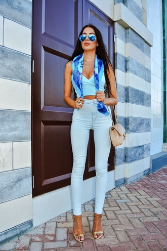 top all blue outfit all blue blue top crop tops jeans blue jeans scarf sunglasses mirrored sunglasses aviator sunglasses high heel sandals sandals nude sandals bag nude bag summer outfits