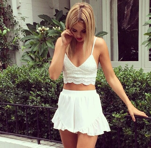 white lace crop tops bustier skirt bralette bralette dress