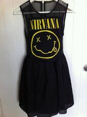 dress,nirvana,black,cool,black dress,yellow,band,band dress,nirvana dress,smiley,pretty,punk,punk rock,punk rock band,smiling,grunge,merch,mesh,size 6,size 8,grunge dress,summer dress,alternative,sleeveless,sleeveless dress,black smiley nirvana