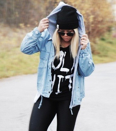 Denim fashion outwear jacket