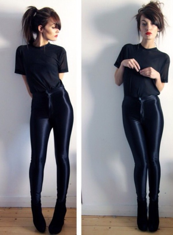 pants black black high waisted pants high waisted pants american apparel black friday cyber monday shiny love them need it for summer please help me find these pants jeans high waisted clothes jeggings leggings skinny pants tight shirt shoes black shiny pants
