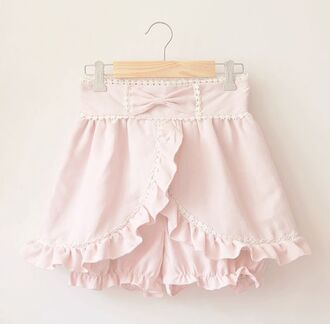 shorts pink bow girly pastel pink mini shorts