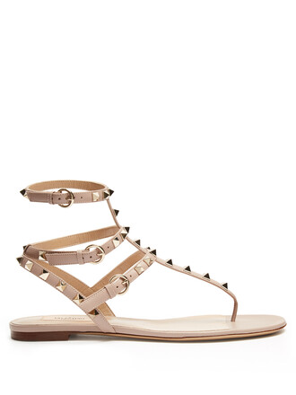 sandals flat sandals leather nude shoes