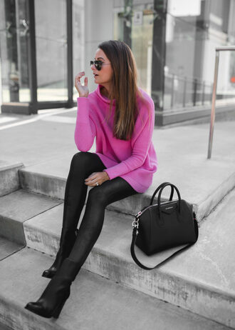themilleraffect blogger sweater leggings shoes bag sunglasses make-up boots handbag pink sweater fall outfits