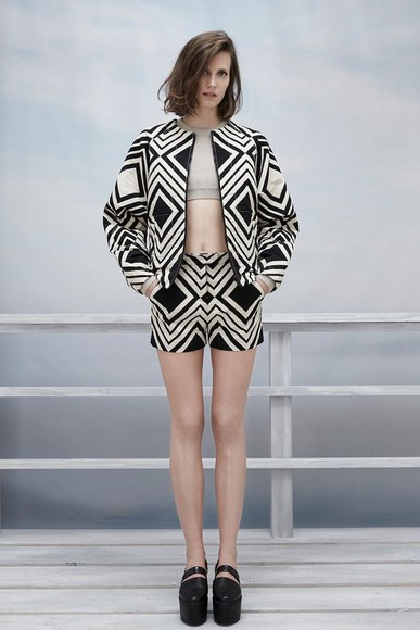 shoes jacket aztec pattern shorts fashion matching clothes matching matching clothing black and white crop shirt