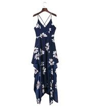 dress,handkerchief hem,floral dress,navy floral dress,criss cross back dress