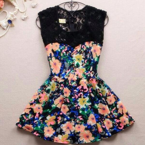 dress floral dress lace floral skater skirt skater dress pretty cute dress love floral dress lace dress dreess floral dress flowers colorful black pink