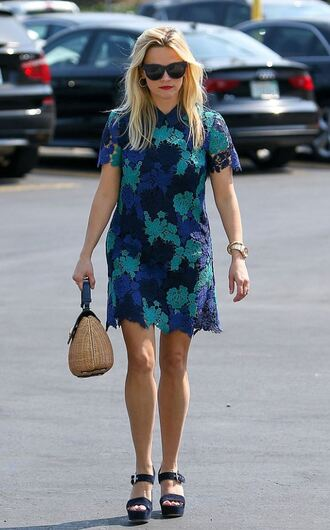 dress lace dress sandals platform sandals reese witherspoon summer dress purse shoes bag