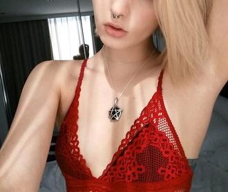 blouse bralette bandeau red underwear red lace top lace lingerie