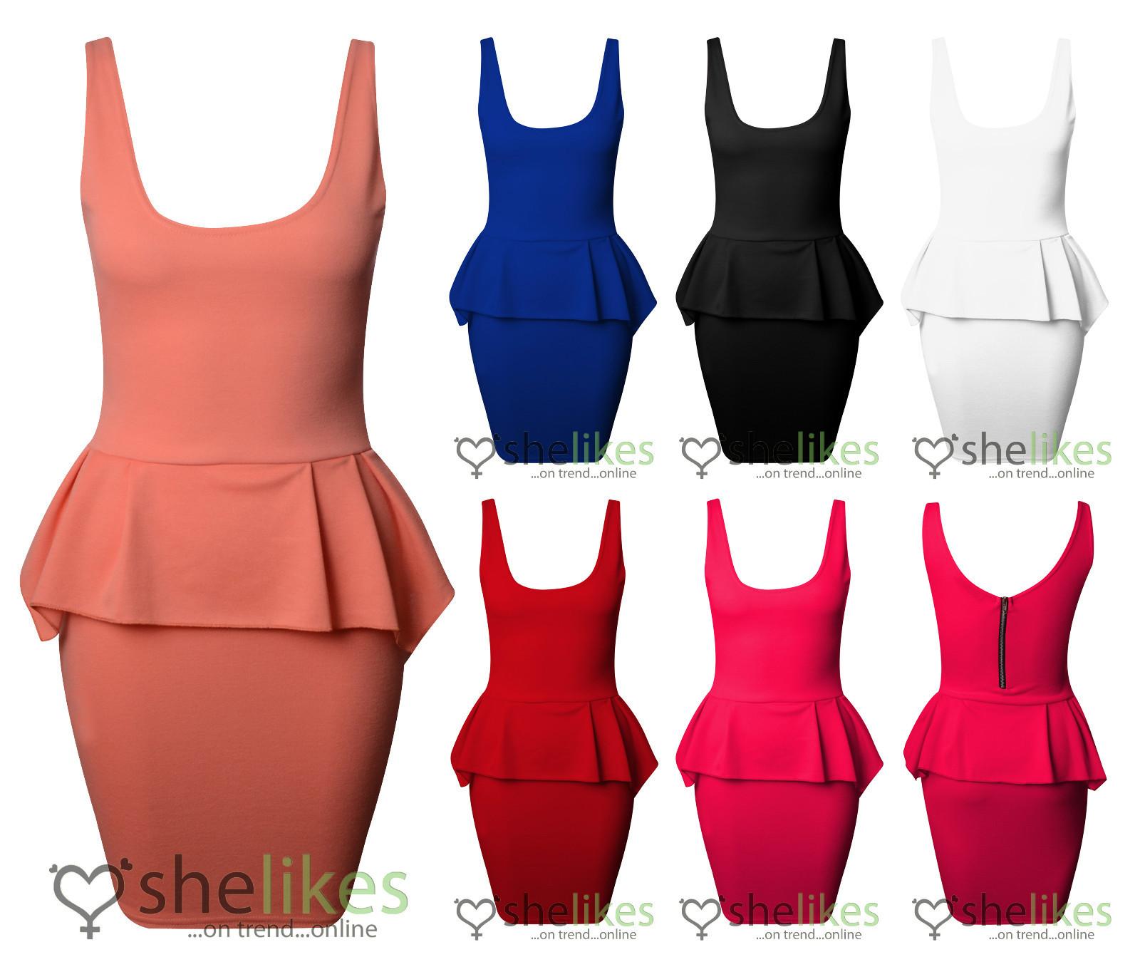 Womens sleeveless dress ladies frill shift peplum zip back bodycon skirt dress