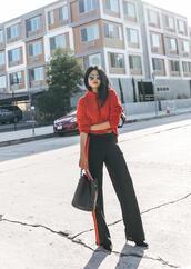 top,tumblr,hoddie,red hoodie,pants,black pants,wide-leg pants,side stripe pants,bag,black bag,fall outfits,sunglasses