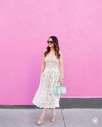dress tumblr white dress lace dress white lace dress pumps pointed toe pumps high heel pumps bag blue bag sunglasses shoes