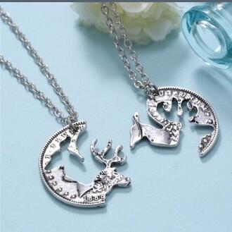 jewels deer necklace couple couples necklaces