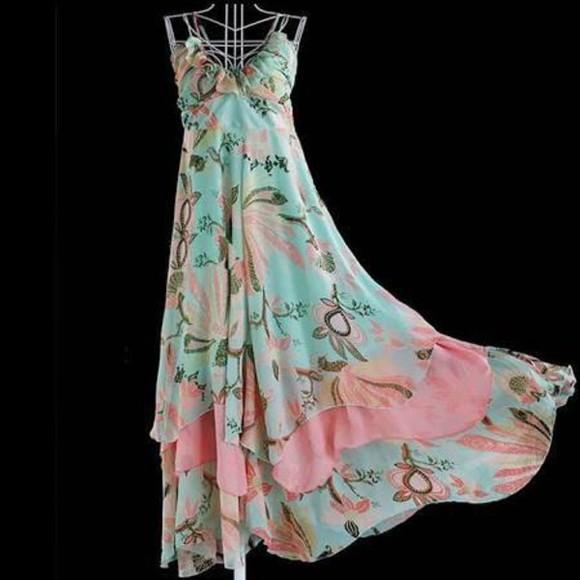 floral hippie bohemian dress flower dress beach long dress