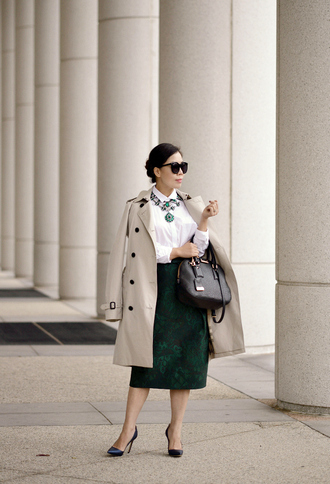 hallie daily blogger sunglasses statement necklace trench coat midi skirt leather bag white shirt