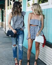 top,ruffled top,tumblr,co ord,matching set,crop tops,gingham,shorts,denim,jeans,blue jeans,ripped jeans,sandals,bag,ruffle,asymmetrical,asymmetrical top