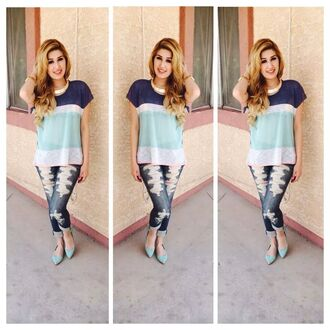 blouse blue shirt gold jewelry ripped jeans flats shoes