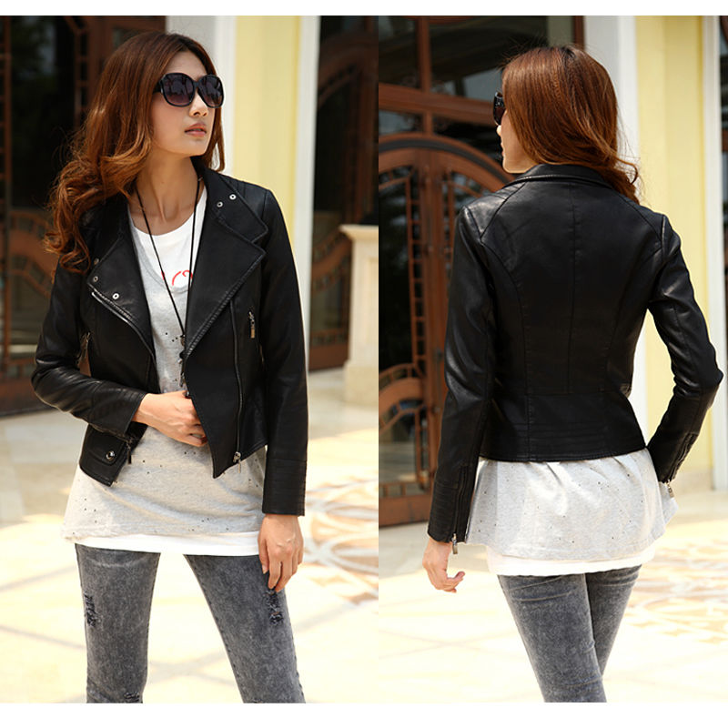 Lapel Biker Motorcycle PU Leather Zipper Slim Short Black Coat ...