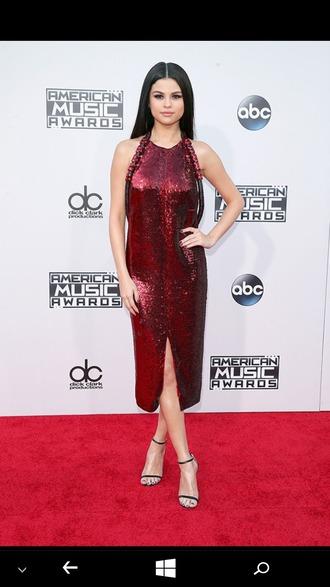 dress red dress selena gomez shinny dress sparkle sparkly dress black heels amas 2015