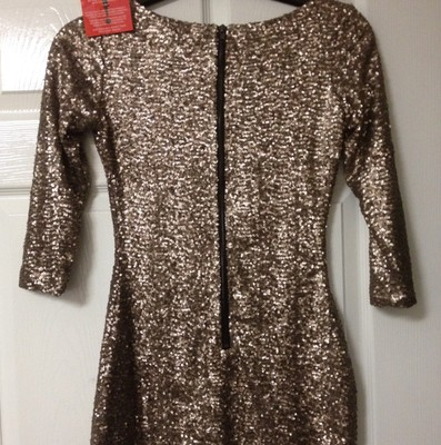 Gold sequin bodycon dress with back zip detail