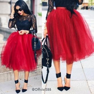 red skirt tul tutu blouse
