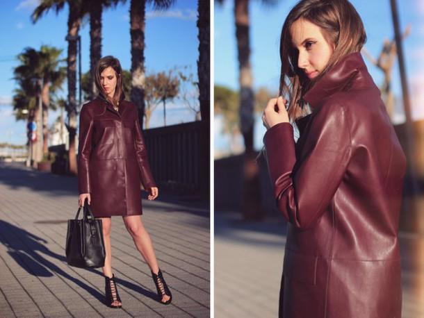 fashion quite blogger coat peep toe heels leather burgundy shoes skirt t-shirt bag