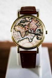 jewels,watch,clock,map print,map watch,leather watches,jewelry,wanderlust,cute,map,leather