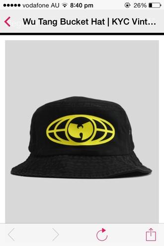 hat wutang clan bucket hat black