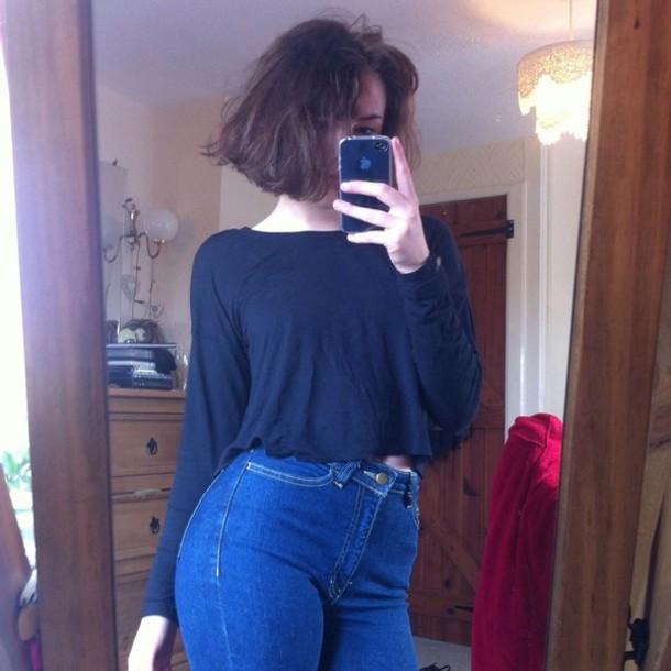 jeans blue tumblr tumblr girl high waisted jeans