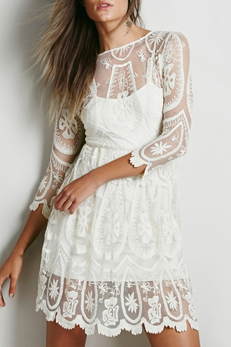 dress white fashion lace girly romantic style cute trendy solid color see-through 3/4 sleeves openwork lace dress