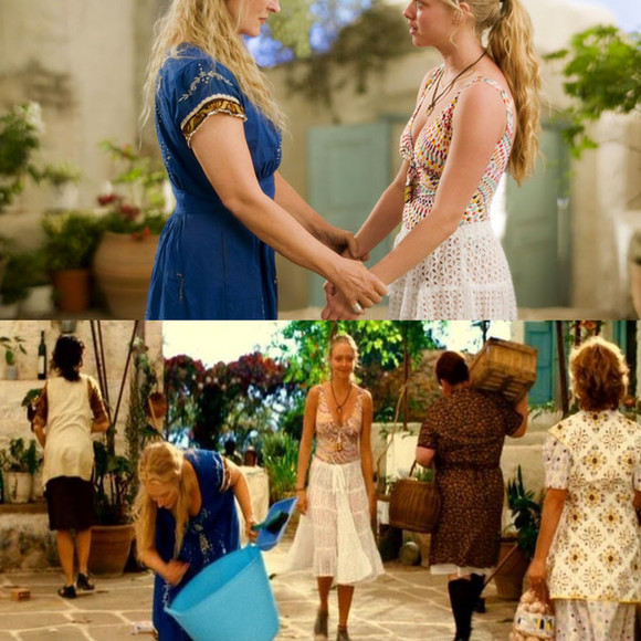 amanda seyfried swimwear mamma mia movie white skirt boho greek island island style pattern cut out skirt boho skirt bohemian skirt islander greece greek goddess colourful bikini swimming suit yellow red ties ties in the front one piece one piece swimsuit one piece bathers one piece bathing suit
