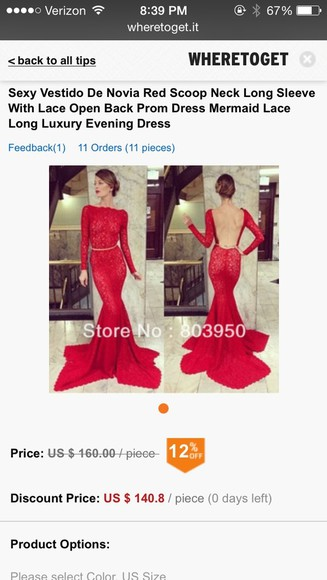 dress long sleeves red dress open back long prom dresses