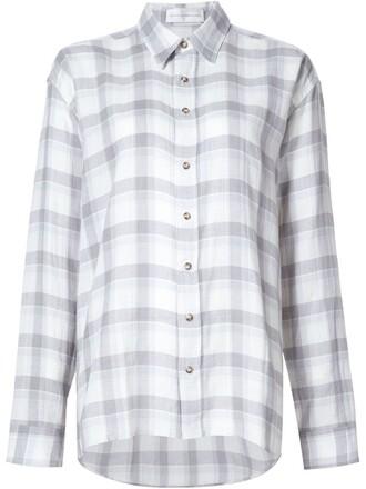 shirt checked shirt grey top