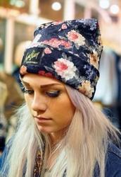 hat,flowers,beanie,tomboy,floral,hoodie,beenie,bag