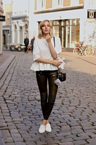 lotta liina love blogger leather pants white top keychain