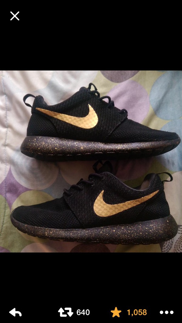 fecf2a7abd45 Nike Roshe One Run Black Gold Splatter Speckled Custom Women   Men