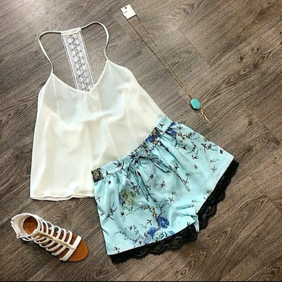 top white floral floral shorts blue shorts white top white sandles blue floral shorts black lac black lace white crop tops white tops gladiator sandals necklace necklace, lion, gold, chain, choker, trust no one crystals,raw,stone,necklaces sexy v-neck dress