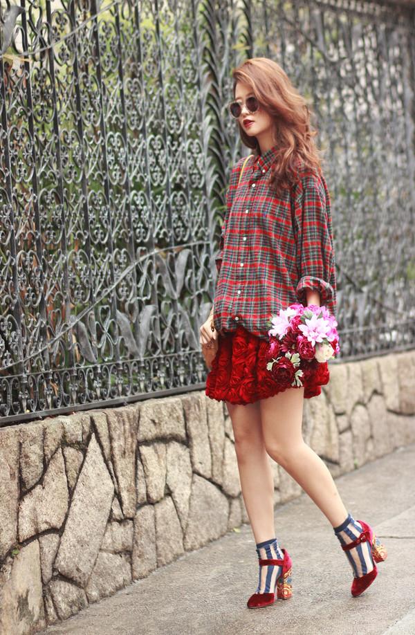 mellow mayo sunglasses shirt skirt shoes hat dress bag